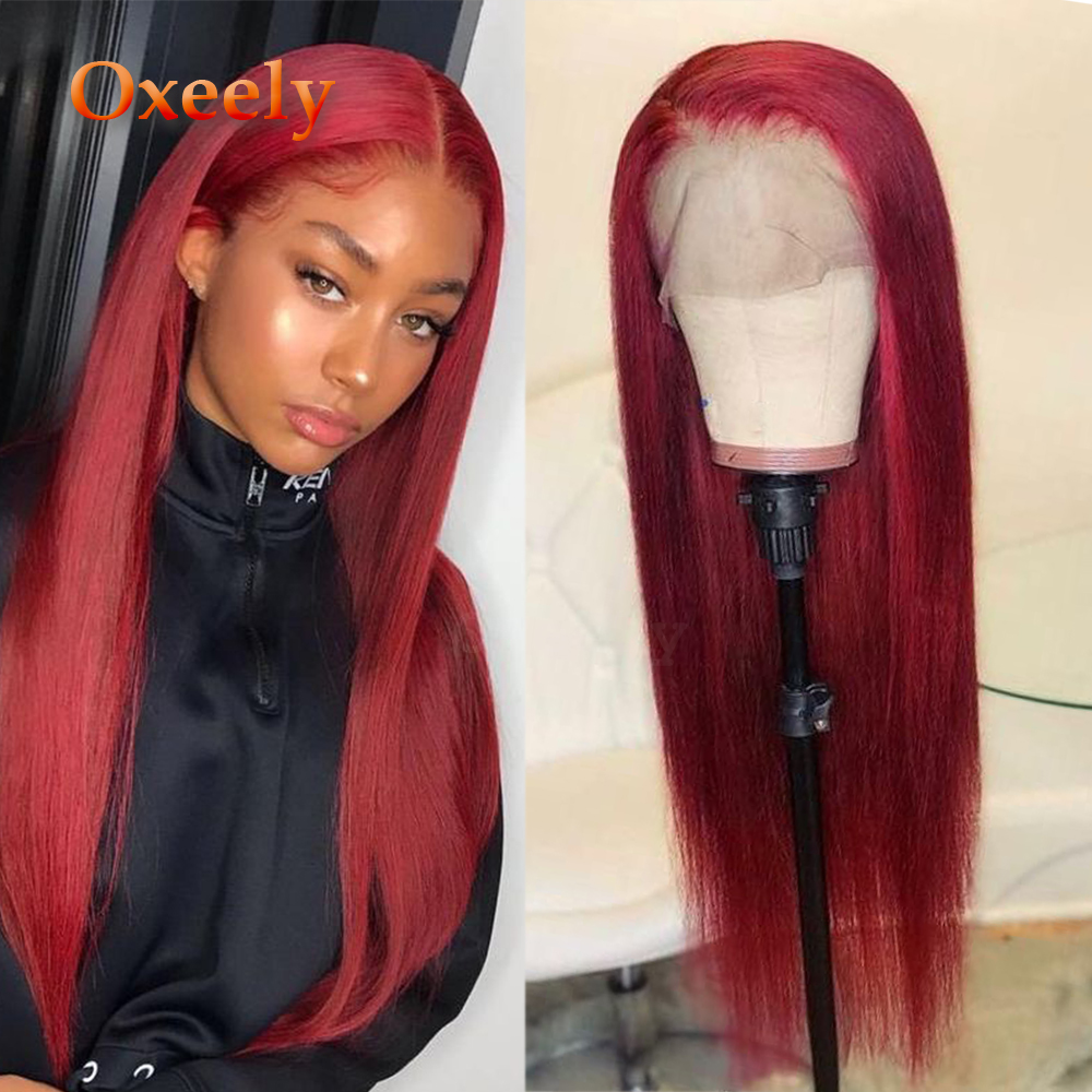 Oxeely 13x6 Lace Wig Red Hair Synthetic Lace Front Wigs Long Straight Natural Hairline Baby Hair Heat Resistant For Women