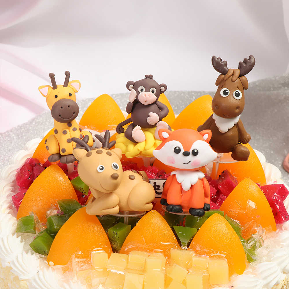Gifts Kids Favors Soft Pottery Picks Cake Toppers Forest Plants Cartoon Animal