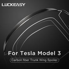 LUCKEASY Car carbon fiber trunk wing spoiler for Tesla model 3 2017-2019 Real Carbon Fiber Trunk Spoiler Wing