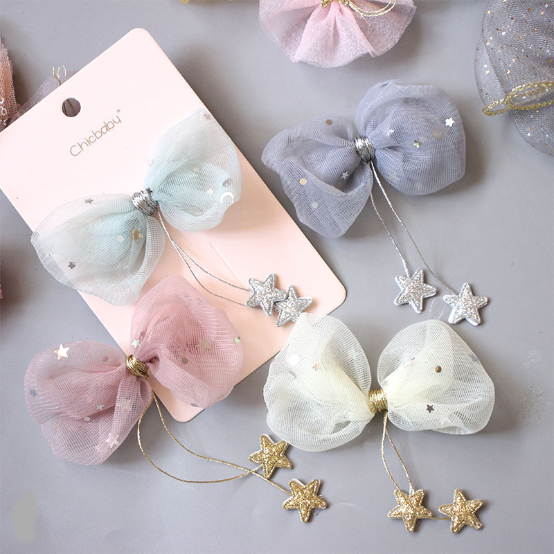 South Korea New Children's Hair Accessories Star Yarn Hanging Little Star Tassel Bow Hair Clip Girl's Headdress Pink