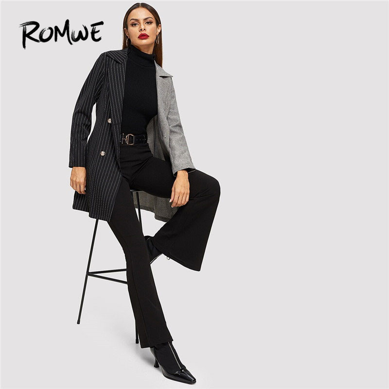 ROMWE Notch Collar Colorblock Striped Coat Women Blazer Autumn Fashion Ladies Jackets Fall Elegant Black Double Breasted Blazer