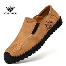 Vosonca Men Shoes Classic Comfortable Men Casual Shoes Loafers  High Quality Leather Shoes Men Flats Moccasins Shoes Size38-48 new leather shoes men casual high quality black dress shoes autumn winter fashion shoes for men zapatillas hombre plus size38 48