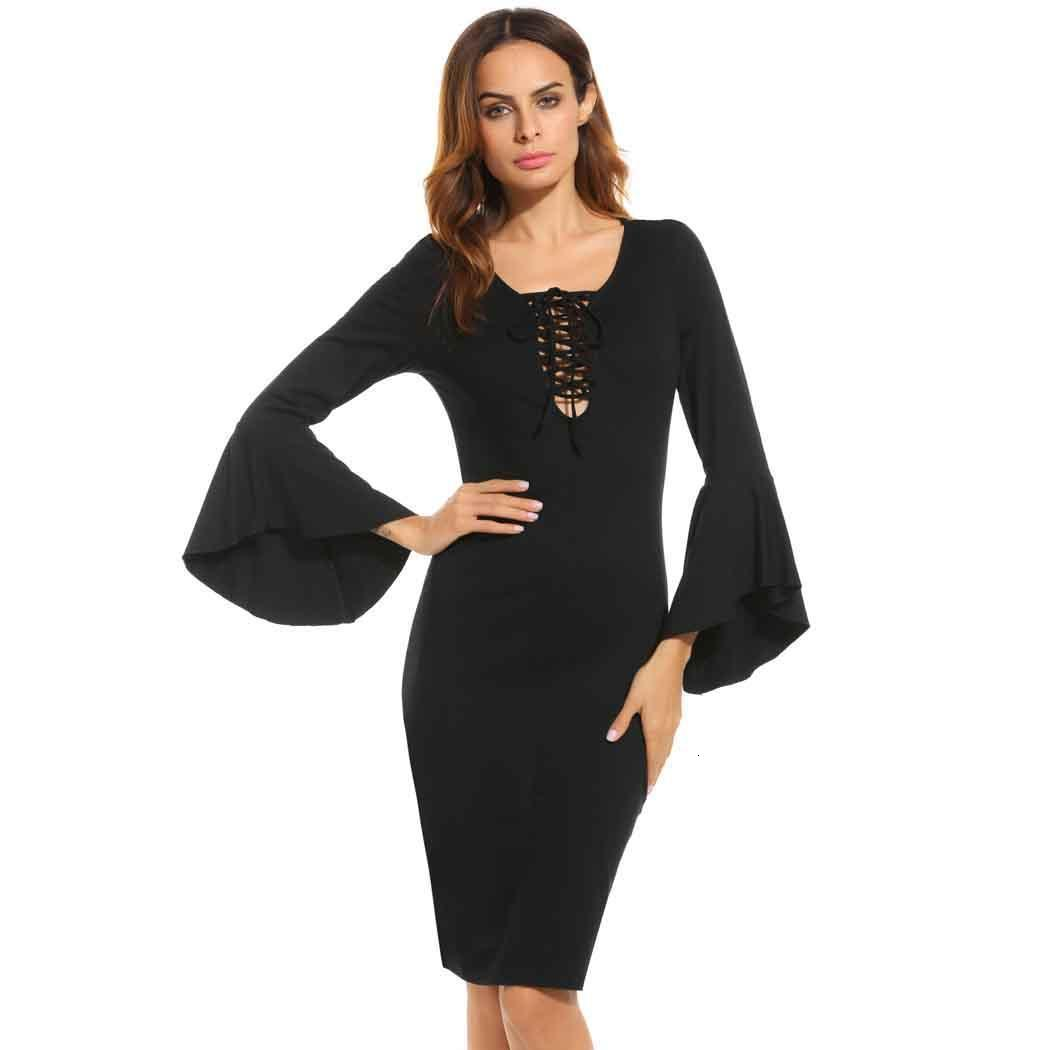 BGW Sexy Cut Out O-Neck Full Sleeve Simple Solid Color Cocktail Dress Knee Length For Cocktail Party Robe De Soirée Courte