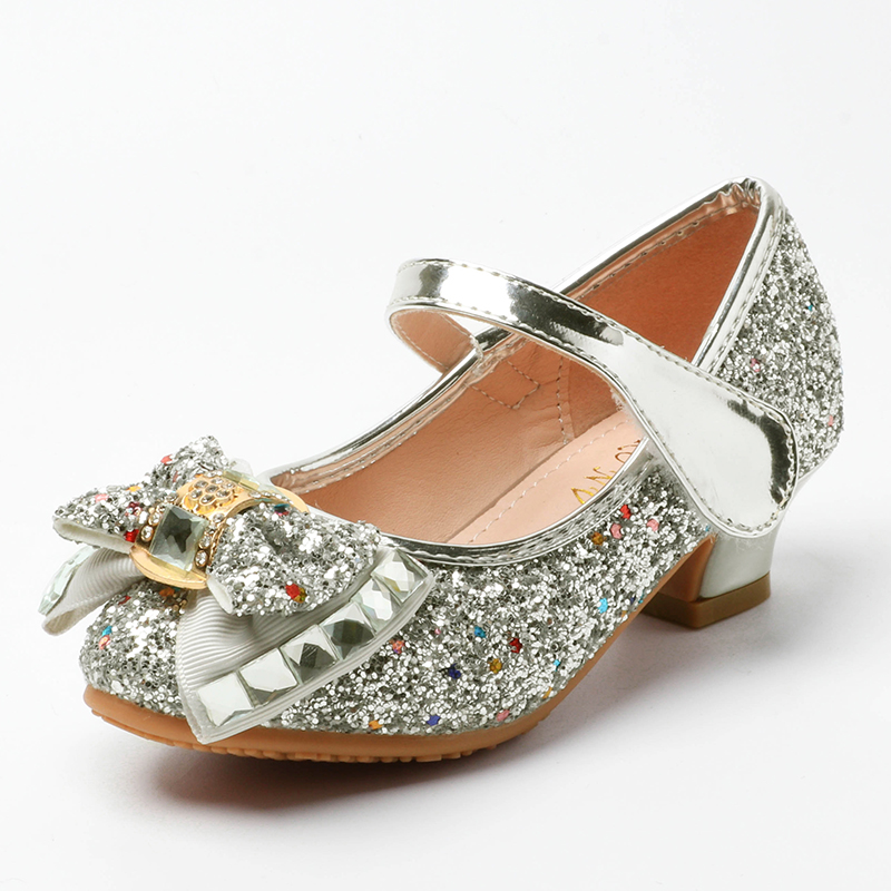 Kids Shoes For Girl Princess Fashion Sequins Rhinestone Bowtie Low Heel Leather Shoes Spring Children Girls Party Shoes  SJD007