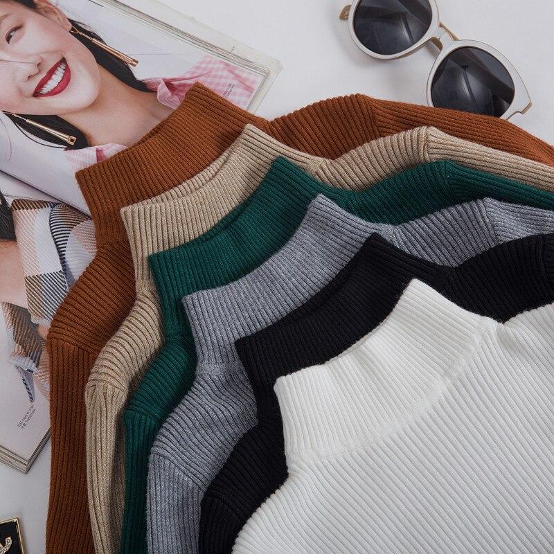 Cвитер женский вязаный 2020 половина водолазка осенняя зима женские свитера корейская лонгслив кофта джемпер женский мягкий плотно женская одежда|Водолазки| | АлиЭкспресс