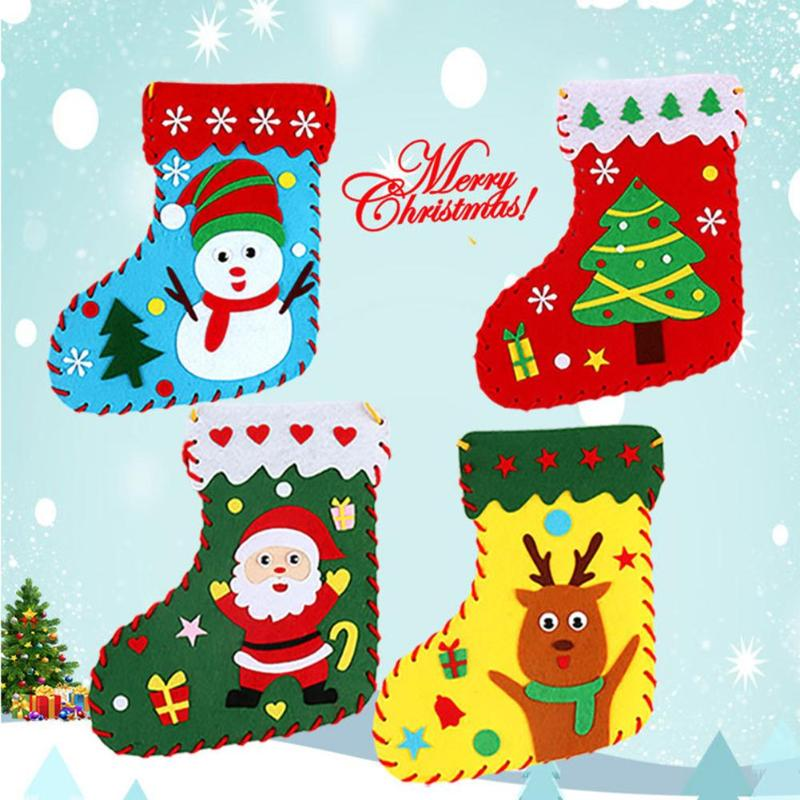 35*28cm DIY Cloth Christmas Sock Ornament Kindergarten Child Gift Home Party Holiday Christmas Decoration Creative Craft Toys