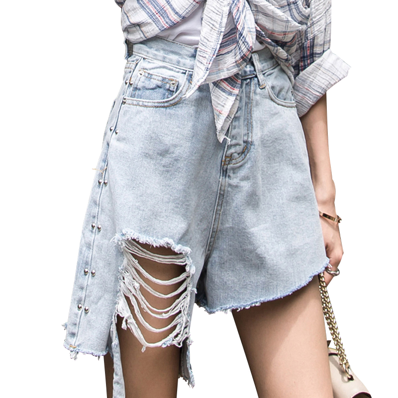 High Waist Ripped Jean Short Women Holes Fashion Chic Street Wear Vintage Denim Irregular Shorts Retro Plus Size Blue Clothing