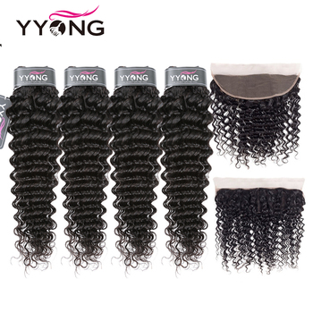 Yyong Hair 3/4 Brazilian Deep Wave Bundles With Frontal 100% Remy Human Hair Weave Bundles With 13x4 Lace Frontal Can Be Dyed 1