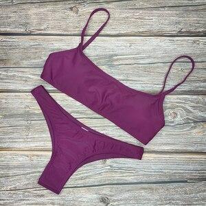 Image 5 - Bikini unicolor de dos piezas para mujer, traje de baño Sexy, moda de talla grande XL, conjunto de baño