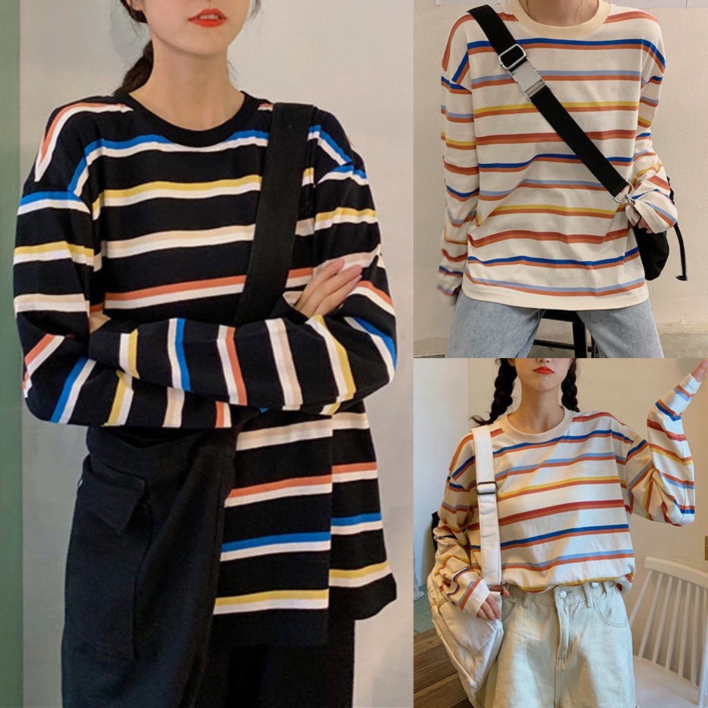 Tshirt Women Fashion Tops Round Collar Stripe Long Sleeve Casual Loose T-shirt Poleras Camiseta Mujer Harajuku Top Women T Shirt