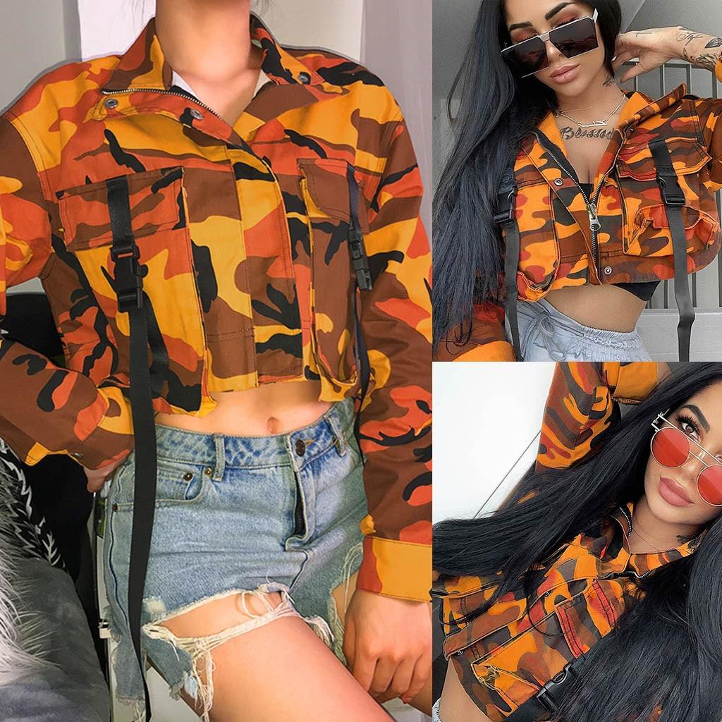 Fashion Orange Camouflage   Basic     Jacket   Woman Winter Coat Women Spliced Crop Top Women's Denim   Jacket   American Women
