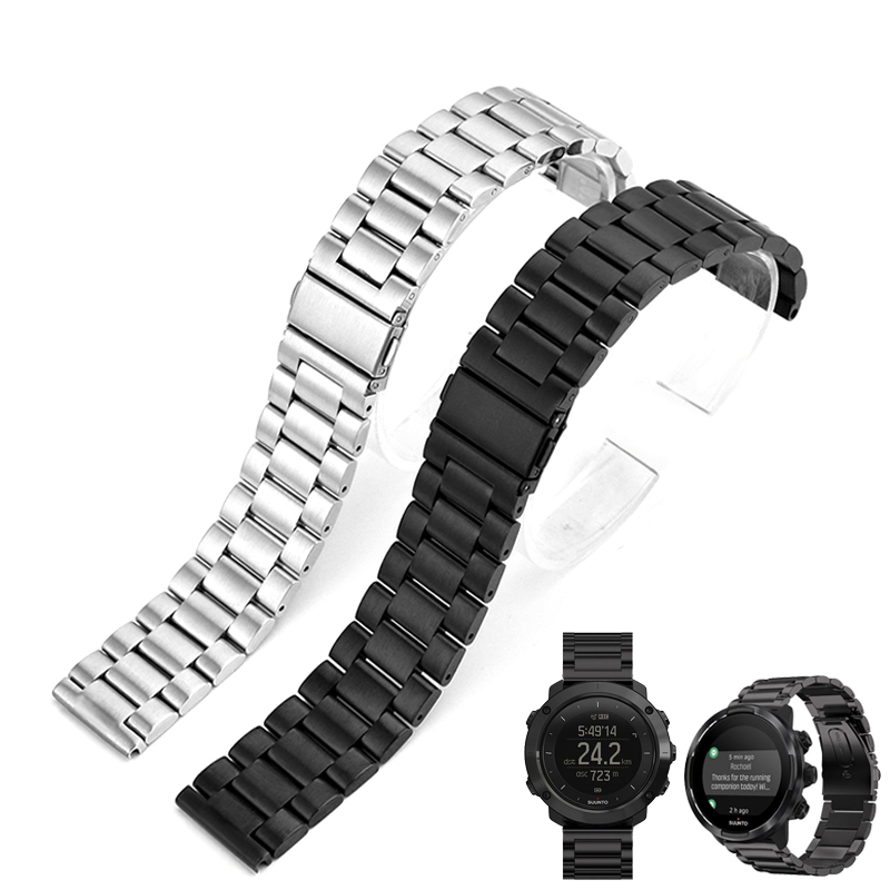 Stainless Steel Watchband +Tool For Suunto 9/Ambit 3 Vertical/Spartan Sport HR Metal Watch Band Wrist Strap Bracelet 24mm Black