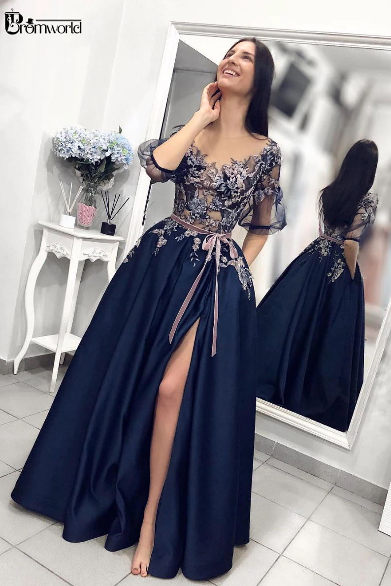 Navy Blue Embroidery Satin Evening Gown 2019 A-Line Sexy Split Lace Prom Dresses Long with Pockets Half Sleeves Evening Dress