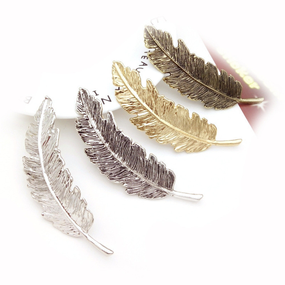 2019 Fashion 1PC Women Leaf Feather Hair Clip Metal Geometry Hairpin Barrette Hair Ornament Party Decoration Hair Accessories