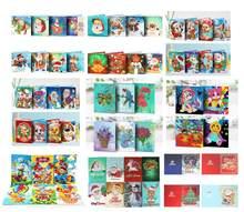 Cartões de pintura de diamante, 4/5/6/8 unidades, mosaico de diamante, bordado, natal, cartões postiços, aniversário presente de natal