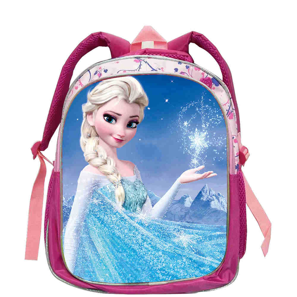 Girls Princess Elsa Anna School Bag Pink Lovely Plush Backpacks Kids Kindergarten School Bag Breathable Quality Backpack