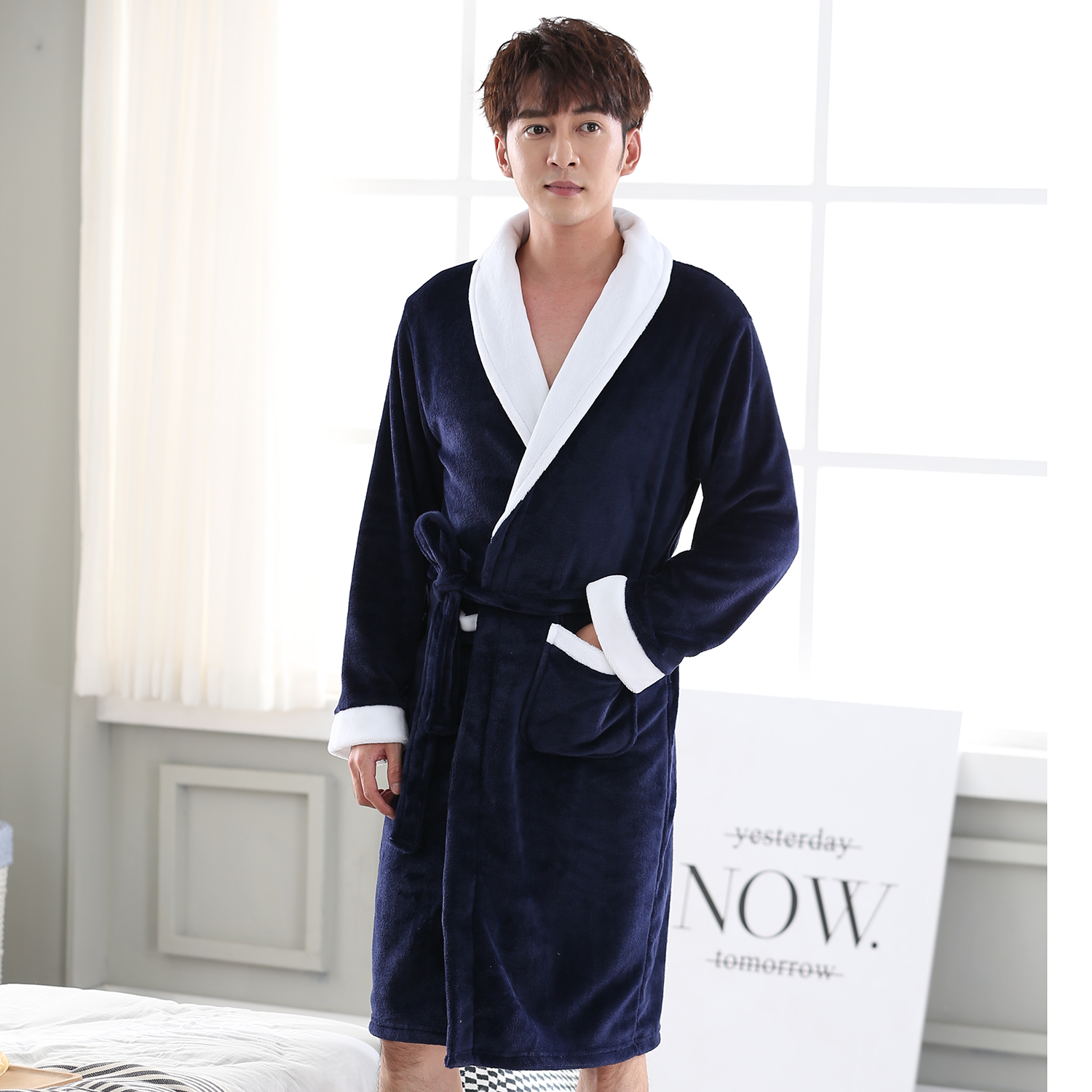 Turn-down Collar Nightgown Sleepwear For Male V-neck Full Sleeve Solid Color Robe Bathrobe Winter New Ultra Thicken Negligee