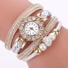 Zegarki damskie Rhinestone Dial zegarek kwarcowy Faux skórzana bransoletka z diamentami zegarek Laies Top pasek na prezent zegarki Montre