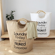 Foldable Laundry Basket Cotton Linen Storage Basket for Dirty Clothes Toys Organizer Portable Laundry Hamper with Bamboo Handle