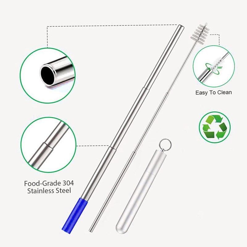 Телескопические многоразовые соломинки портативные металлические соломинки из нержавеющей стали премиум складные соломинки набор брелоков для ключей с квасцами