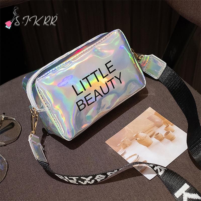 S.IKRR Women Laser Crossbody Bag Fashion Mini Square Shoulder Messenger Bags Jelly Colors Holographic Trend Wild Bolsa Feminina