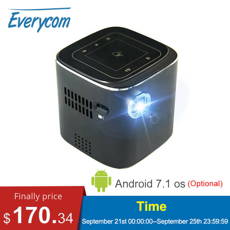 Everycome D019 Mini projektör desteği Full HD 1920x1080 P DLP taşınabilir Android 7.1.2 OS Wifi Bluetooth LED pil ev Beamer
