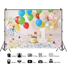 Laeacco красочный воздушный шар торт ребенок 1 й День рождения