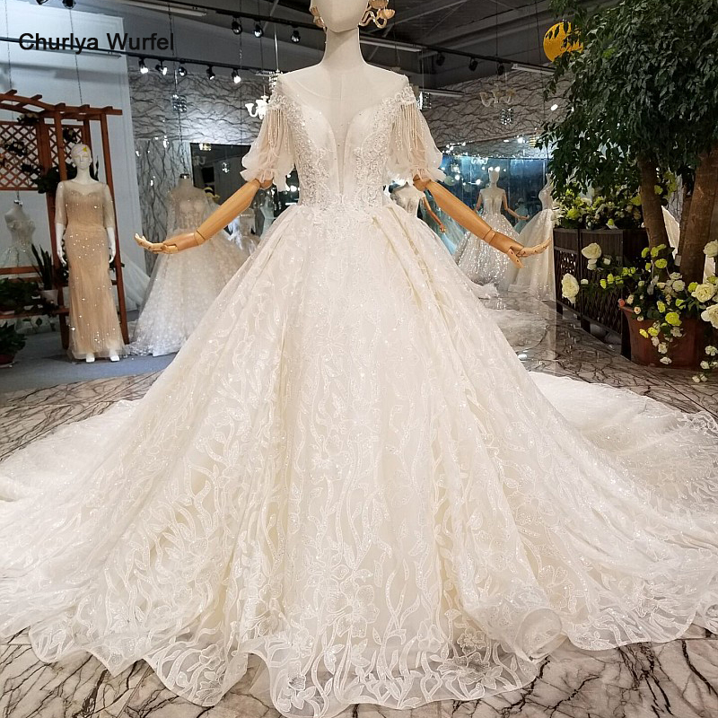 LS124711 Puffy Half Sleeves Wedding Dress Free Shipping O-neck Beading Lace Wedding Gown With Train China Wholesale New Design