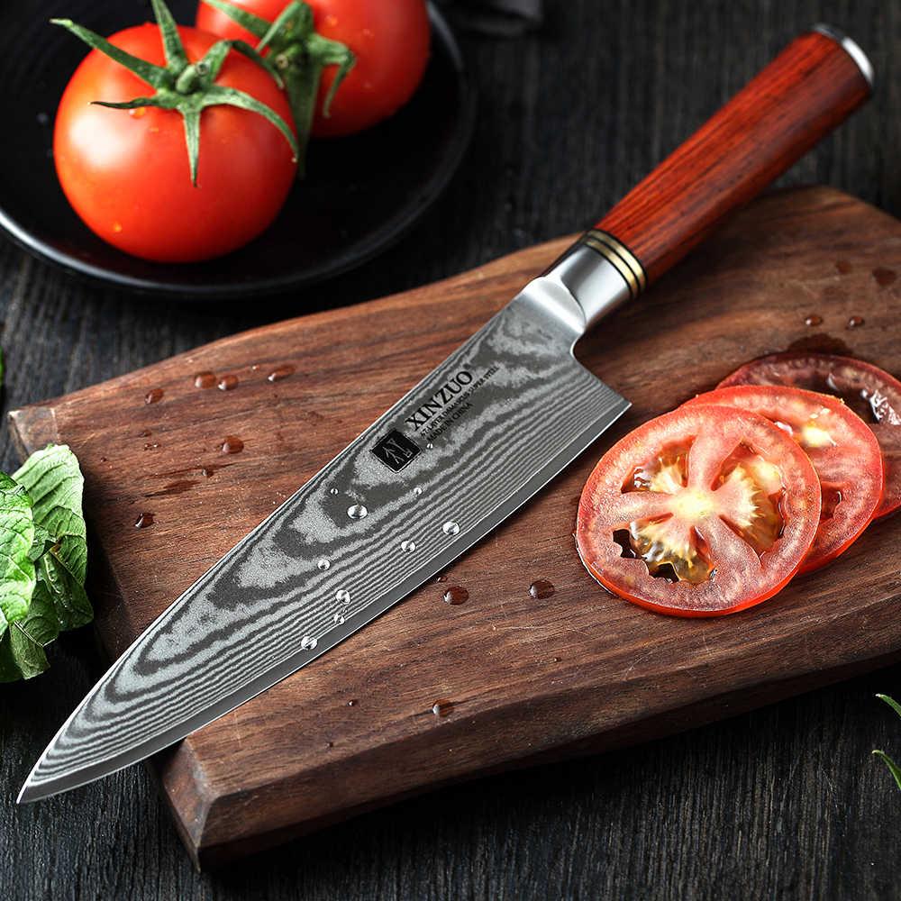XINZUO 8'' Kochmesser 67 schichten Japanischen Damaskus Küche Messer Küche Edelstahl Werkzeug Gyuto Messer Rose Holz Griff