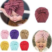Gorro para bebê, chapéu de cabeça para bebê com estampa de laço, turbante elástica, envoltório para cabeça, acessórios para meninas
