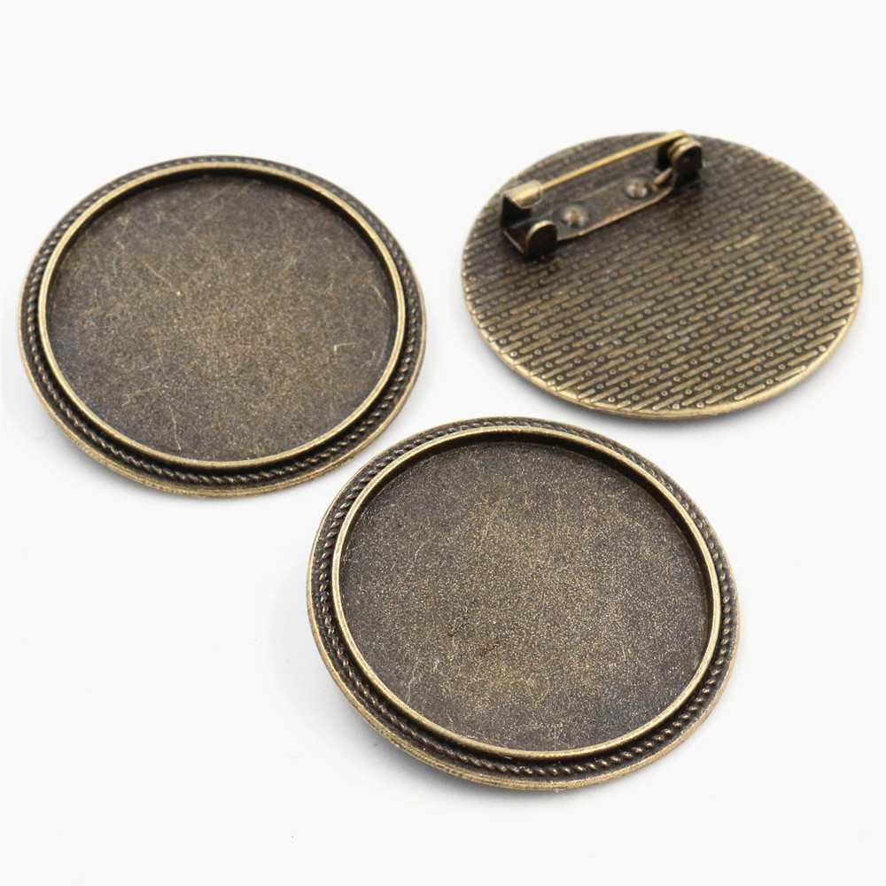 5pcs 30mm Inner Size Antique Bronze Brooch Pin Classic Style Cabochon Base Setting (B6-03)