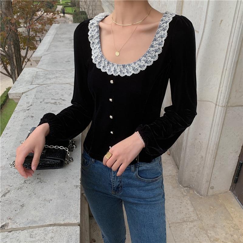 Elegante Primavera Verano negro encaje patchwork camisa blusa de terciopelo mujeres O cuello único pecho negro camisa tops blusas RU363|Blusas y camisas|   - AliExpress