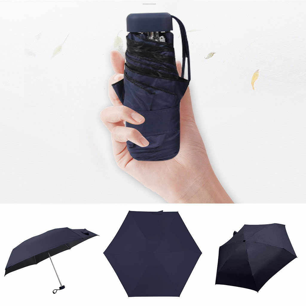 Túi Mini Ô Dù Gấp 3 Ô Che Nắng Nữ Du Lịch Phẳng Vải Dù Siêu Nhẹ UV Bảo Vệ Dù Gấp Gọn Ô Mini