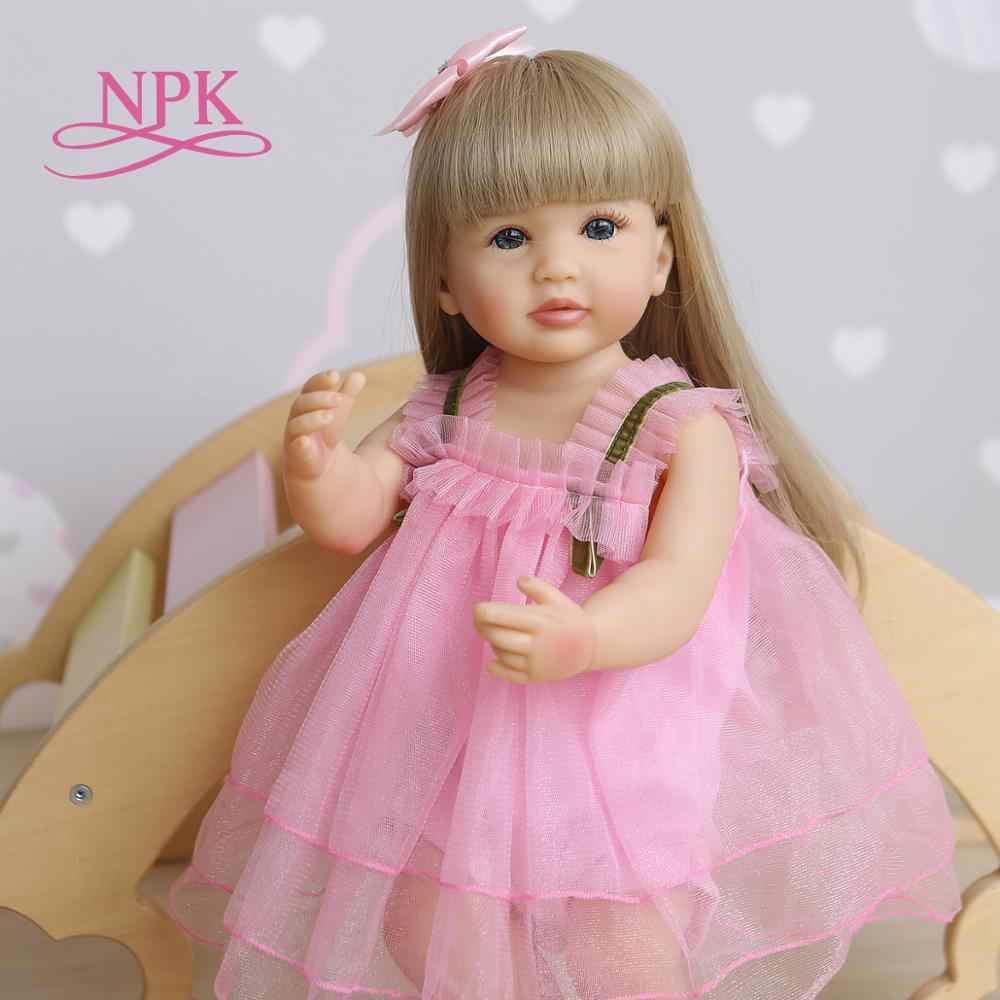 55CM original NPK  lifelike bebe doll reborn soft full body silicone  toddler pink girl sweet face baby doll waterproof bath toy