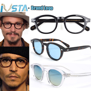 Image 1 - IVSTA Johnny Depp Glasses Men Handmade Acetate Frame Polarized Sunglasses Round Luxury Brand Optical Myopia Prescription Logo