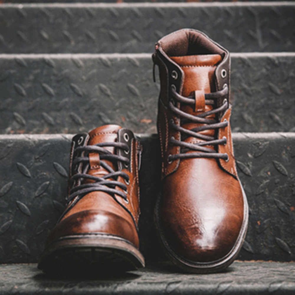ZYYZYM hommes bottes en cuir printemps automne Style Vintage bottines hommes à lacets chaussures chaussures de loisir à la mode hommes Botas Hombre