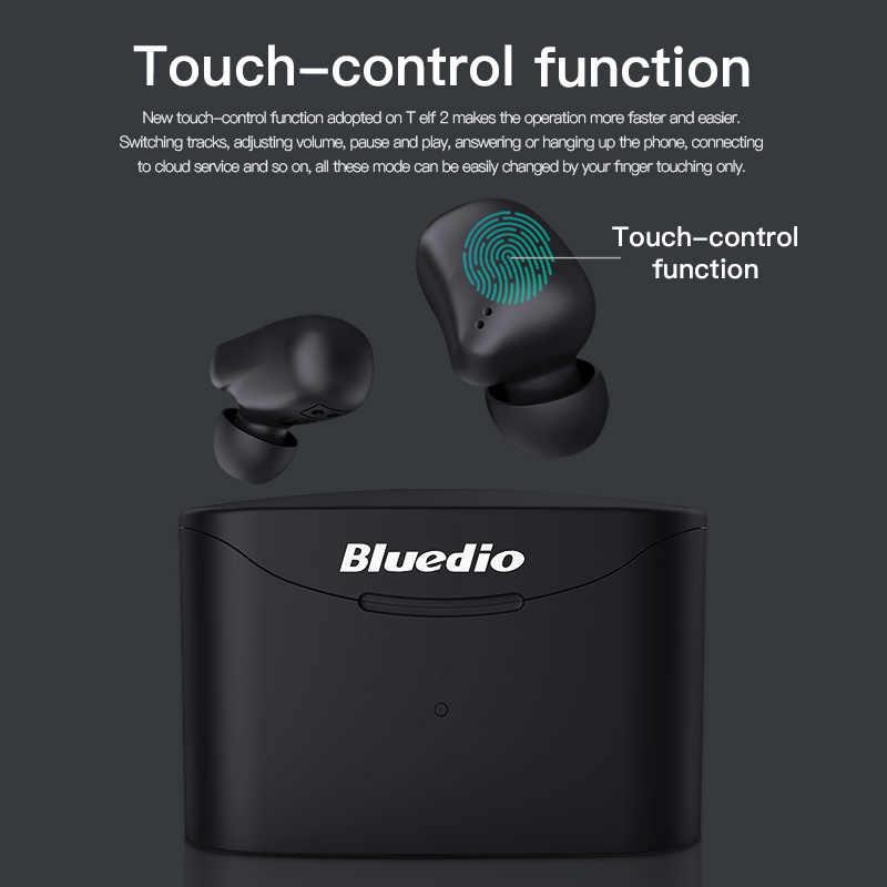 Bluedio senza fili di bluetooth del trasduttore auricolare per il telefono T-elf 2 TWS stereo sport auricolari auricolare con scatola di carico built-in microfono