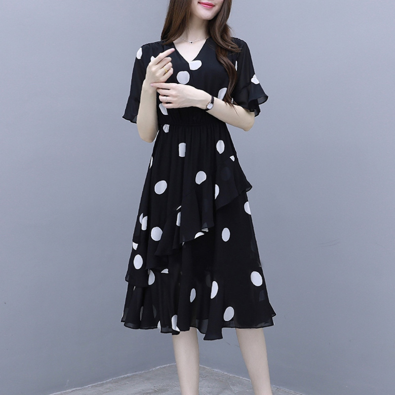 Women elegant dress Fashion Casual Short Sleeve Dress Dot Printing ruffle Dress Beach V-Neck Ladies Dress