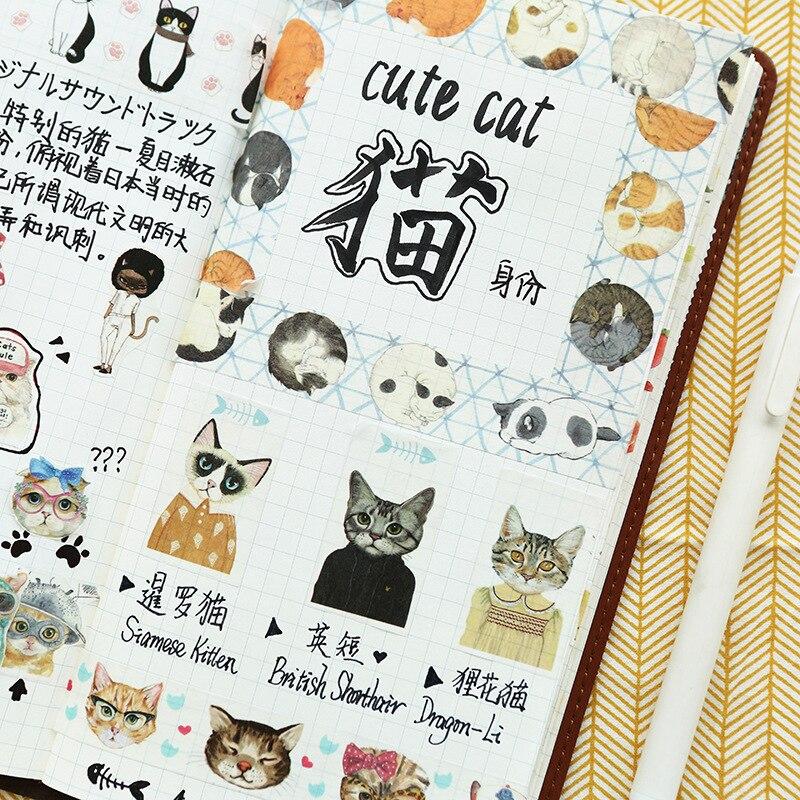 1pc Garland Cat Series Washi Tape Adhesive Tape DIY Scrapbooking Sticker Label Cat Masking Tape