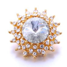 New Snap Jewelry Big White Crystal Flower Metal Buttons With Rhinestone Fit DIY 18mm Bracelets&Bangles Button