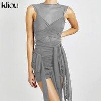 Женские вечерние платья с лентами Kliou, сетчатые прозрачные облегающие Клубные мини-платья без рукавов 4