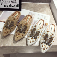 Fur Slides Women Winter Home Shoes Rhinestone Rivets Stud Mules Slippers Pointed Toe Ladies Fashion Slip On Furry Loafers Female цены онлайн