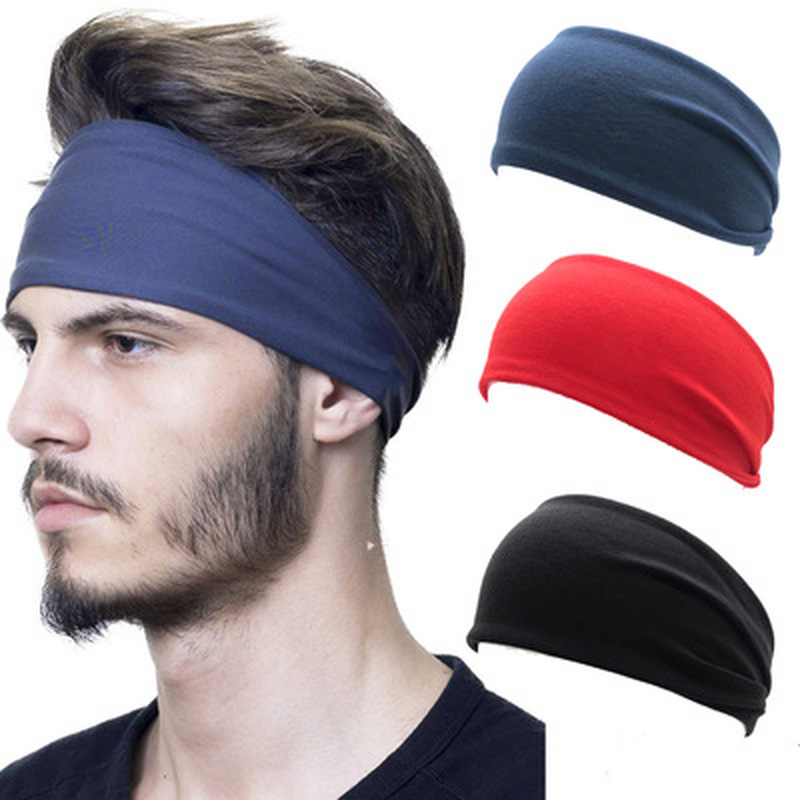 Unisex Solid Color Sport Yoga Headband Hair Elastic Bands For Men Women Stretch Outdoor Fitness Head Bands Hairband