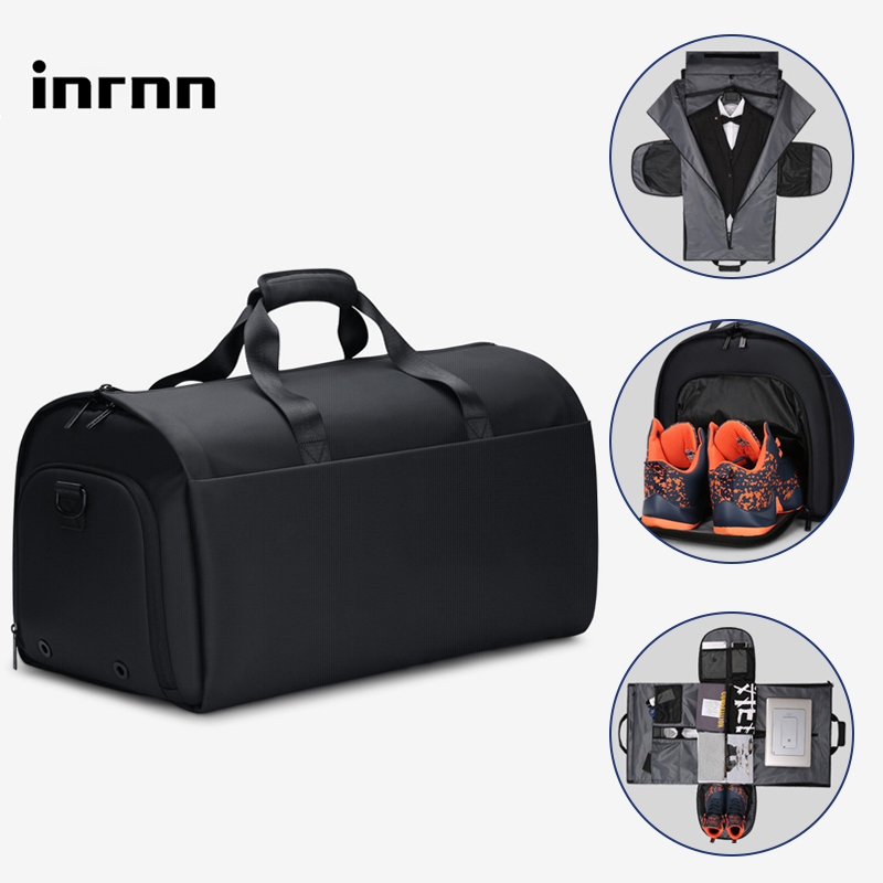 inrnn Men Large Capacity <font><b>Travel</b></font> <font><b>Bag</b></font> Suit Storage <font><b>Luggage</b></font> <font><b>Handbag</b></font> with Shoe Pouch 17 inch Laptop <font><b>Waterproof</b></font> Duffle <font><b>Bag</b></font> for Trip image