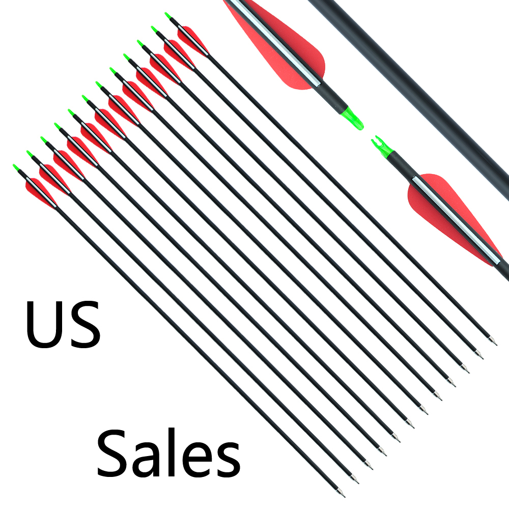 RU 12/24/36 Pcs 30 Inches Spine 500 Mixed Carbon Arrow Diameter 7.8 Mm Shaft For Compound Recurve Bow And Arrow Archery