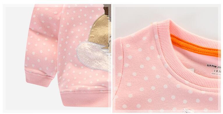 Little maven children brand baby girl clothes autumn new design girls cotton tops pink fox gray print t shirt 5