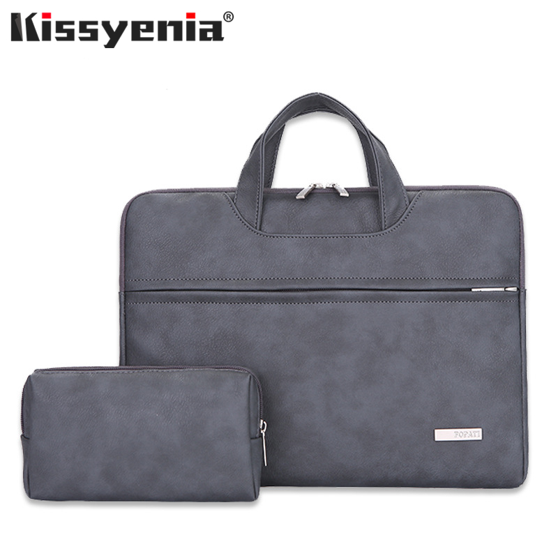 Kissyenia PU Leather Waterproof Laptop Briefcase Men Women 14inch Computer Bag Flight Shoulder Bag Business Travel Laptop KS1343