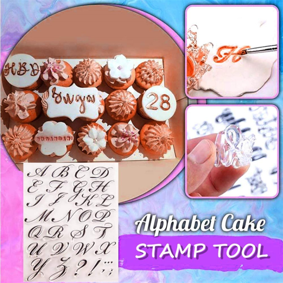 Cake Decorating Tools Alphabet Fondant Cake Cookie Stamp Mold Letters Biscuit Fondant Mold Baking Tools Cake Embosser Stamp 22