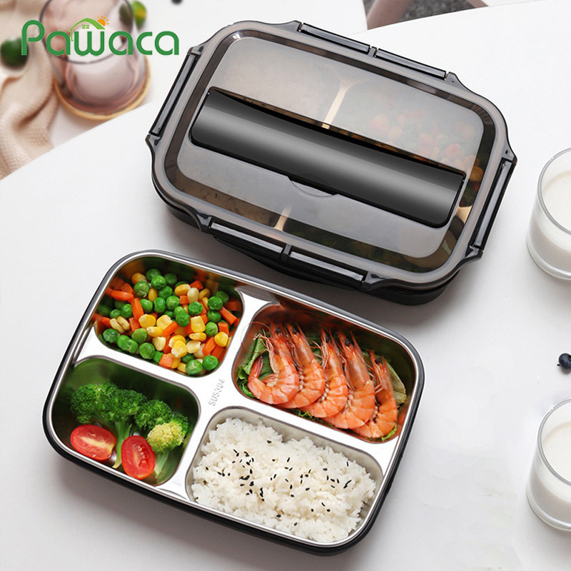 4 Compartments Stainless Steel Lunch Bento Boxes with Spoon Chopsticks Leak proof Dinnerware Set Adult Kids Food Container|Lunch Boxes| |  - title=