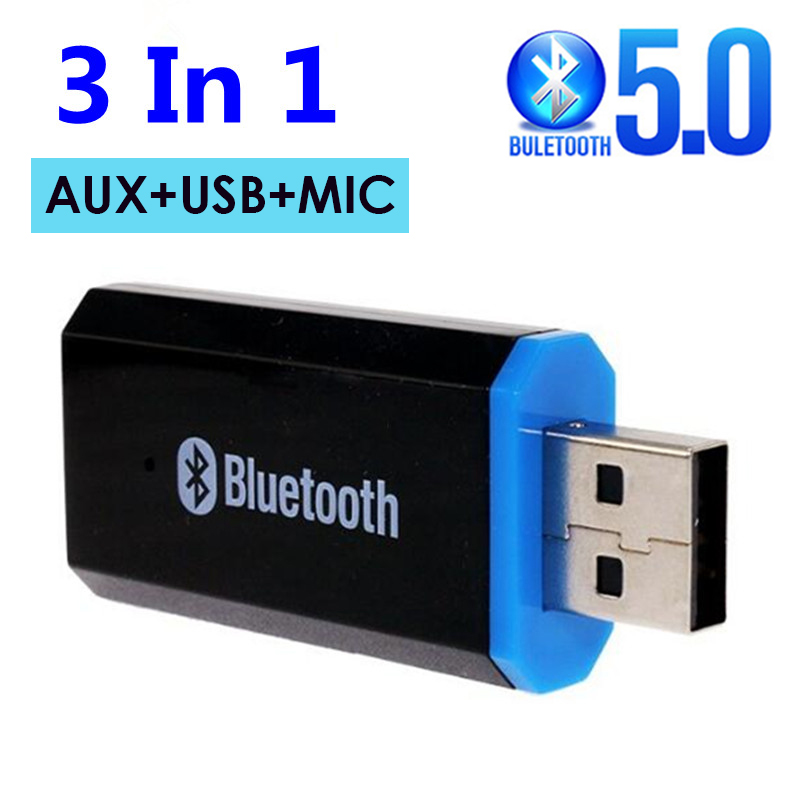 USB Bluetooth Aux Adapter 3.5mm Car Bluetooth Receiver with Mic for Speaker